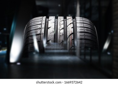 Classic car tire rubber on dark background