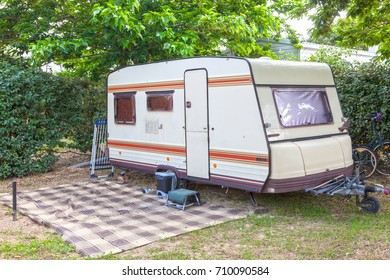 Classic caravan trailer on a camping site