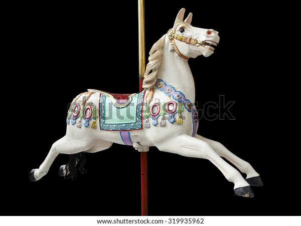 A classic carousel horse on black. Clipping path included.