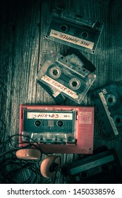 Classic cassette tape with headphones