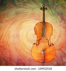 Classic cello with a colorful swirl texture added for an artistic look.