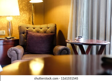 Classic chair style with pillow in luxury bedroom