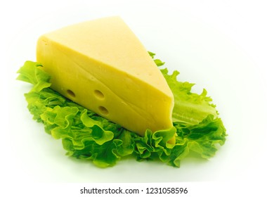 classic cheese on lettuce; isolated