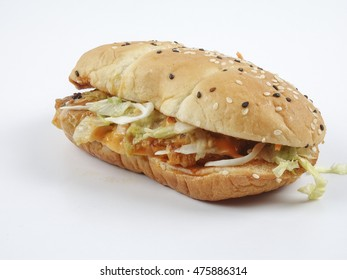 Classic Chicken Burger Isolated on white. Copy space