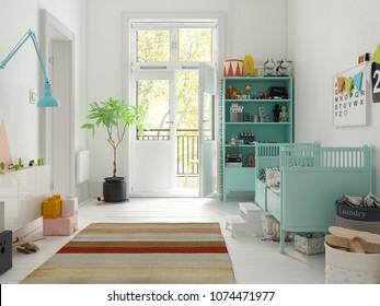 Classic children room white color 3D rendering