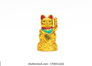Classic Chinese lucky cat on white background