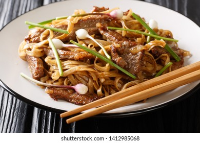 classic Cantonese Beef Chow Fun Noodles closeup on the plate on the wooden table. horizontal
