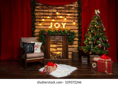 Classic Christmas house interior with fireplace and Christmas tree