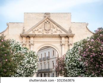 Classic cityscape of Lecce, famous historical baroque Italian city.