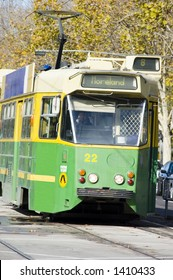 The classic class of green and gold Melbourne trams.