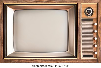 Classic, close up screen vintage old television. Retro TV wooden case