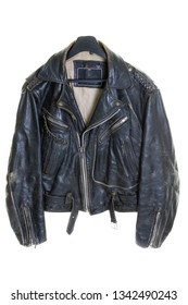 Classic closed black used leather bikers jacket shot from the front