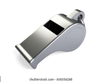Classic coaches Whistle. 3d illustration isolated on a white background.