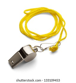 Classic Coaches Whistle, Chrome With Yellow Cord on Isolated White Background.