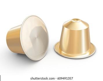 classic coffee capsule 3d rendering image
