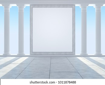 Classic colonnade and portal against the blue sky. 3D Render