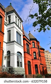 Classic colorful architecture on townhouses and row houses in a Washington, DC neighborhood.