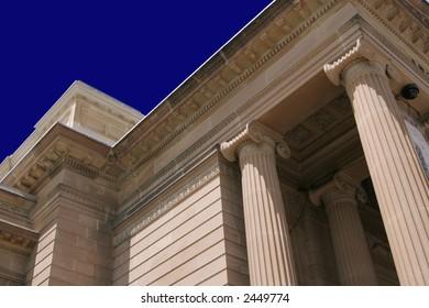 Classic Column Building Facade In Warm Light, Outdoors