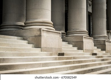 Classic columns and marble steps. Washington, USA
