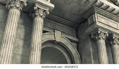 Classic Corinthian Pillars Arc. 3d render.