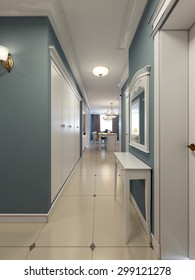 Classic corridor with kitchen on background. Blue and white corridor with large wardrobe and console. 3D render