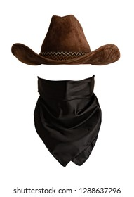 Classic cowboy hat and bandanna pattern with empty space to insert face