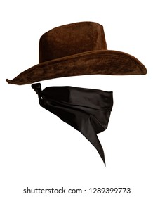Classic cowboy hat and bandanna pattern with empty space to insert face side view