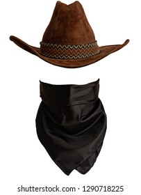 Classic cowboy hat and bandanna pattern with empty space to insert face. front view