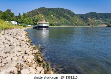 Classic cruiseboat at the river Rhine near Boppard, Germany