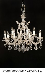 Classic Crystal Chandelier Isolated on Black Background