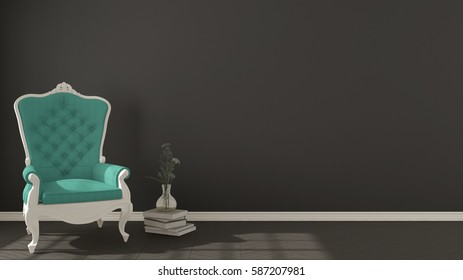 Classic dark living background, with white and turquoise vintage armchair on herringbone natural parquet flooring, interior design, 3d illustration