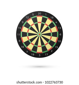 Classic Darts Board with twenty sectors. Realistic Dart boards. Game concept. illustration isolated on white background