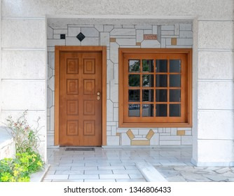 classic design home entrance natural solid wood door and window