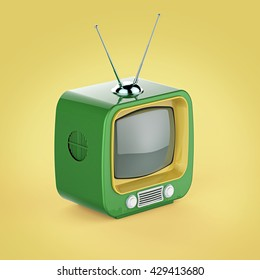 Classic Design Retro TV with bright color plastic shell and blank screen isolated with soft shadow 3d render