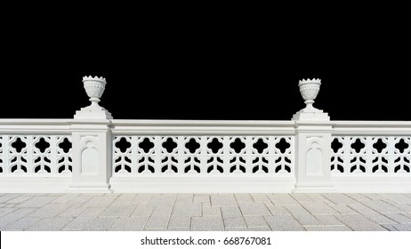 Classic design white beautiful banister railing for buliding or house for exterior architure and landscape concrete pavement with black background isolated