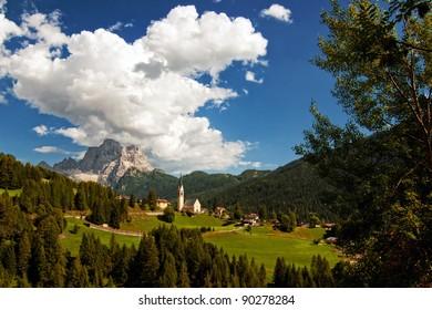 Classic Dolomites mountains postcard