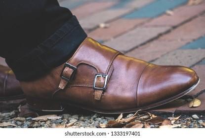 Classic Double Monk Strap Leather Mens Shoe