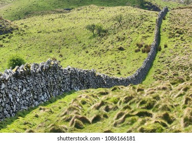 A classic drystone wall covers the hills of Snowdonia in northern Wales.