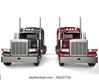 Classic eighteen wheeler trucks in metallic gray and red colors - front view - 3D Illustration