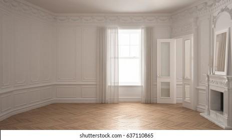 Classic empty room with big window, fireplace and herringbone wooden parquet floor, vintage white interior design, 3d illustration