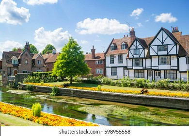 Classic English and European houses near the river in Canterbury, England