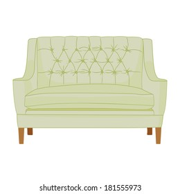classic fabric sofa light color on wooden legs