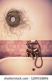 classic faucet in interior bathroom