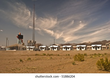 Classic Fifties Motor Hotel along old Route 66 that is now abandoned in Amboy, California - a modern ghost town in California's Mojave Desert.