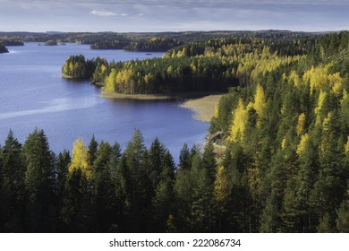 Classic Finnish landscape,panoramic view from Linnavuori rock