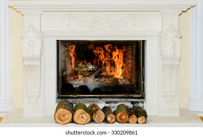 Classic Fireplace in white stone with ornaments