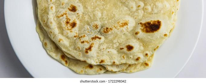 Classic flour tortilla white plate white background