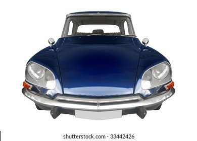 classic French car from the 50s isolated on white background
