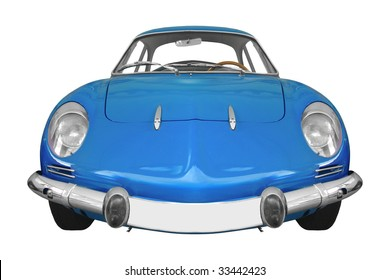 classic French car from the 60s isolated on white background