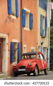 Classic French car on a street in the Provence
